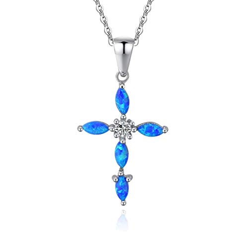 Fancime Created Opal Cross Pendant Necklace 925 Sterling Silver Long Chain Charm Jewelry For Women Girls ()