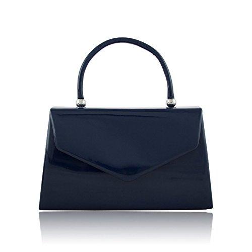 Xardi London Asa Superior patentes Mujer funda de novia bolsa de embrague señoras noche fiesta bolsos azul marino