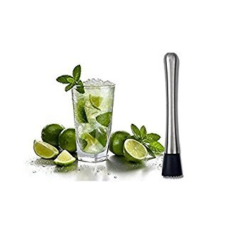 Nalmatoionme Stainless Steel Cocktail Muddler Swizzle Stick(Silver)