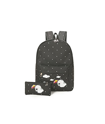 Lidoy Women's Backpacks Set Cute Cartoon Pattern Canvas Casual Student's Bags Color (Cartoon Pattern Canvas)