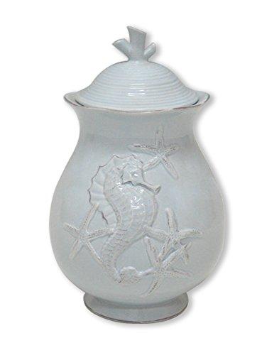 Blue Sky Ceramic Seahorse Canister, 5.5 x 5.5 x 8.5, Blue