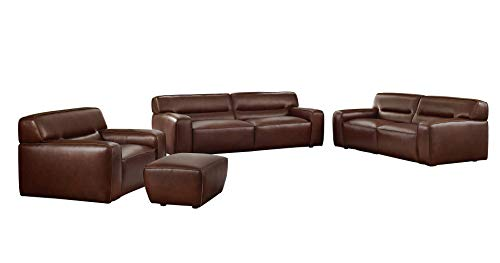 Sunset Trading Milan 4 Piece Leather Living Room Set | Sofa | Loveseat | Armchair | Ottoman, Deep Seating, Brown (Ottoman Near Me)
