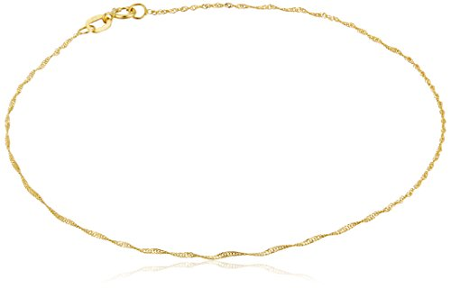 14k Yellow Gold Twist Curb Chain Anklet, 9""