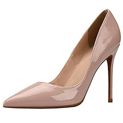 Melady Fashion Women Shoes Stiletto High Heels Pumps Slip On Pointed Toe Office Business Basic Heels Party Wedding Shoes Solid Apricot Size 33