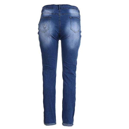 Con Autumn Agujeros Pierna Relajado Destroyed Alta Joggers Casuales Fit Corte Ripped Skinny Slim Up Push Tobillo De Jeans Pantalones Mujer Mujeres Stretch Cintura Blau Recta Denim Zq6XZ7p