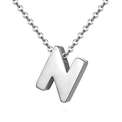 (TOUGHARD Polished Tiny Initial Alphabet Letter Pendant Necklace, Delicate Charm Jewelry for Girls Women (N:Silver Tone))