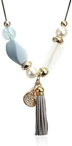 SILXLZH Collar de Cuentas de acrílico para Mujer con Perla simulada para Mujer Collares de Borla Colgantes Joyería de Moda para Regalos