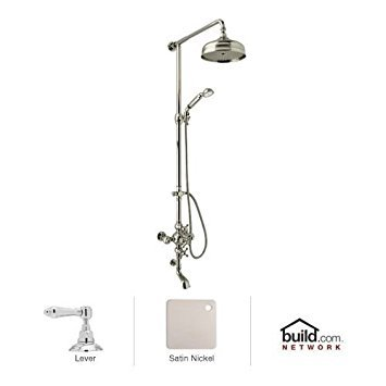 Rohl AC414OP-STN Arcana Exposed Thermostatic Shower and Bath Tub System Complete with Therm Valve with Volume Control Riser Diverter Handshower Hose, Satin Nickel
