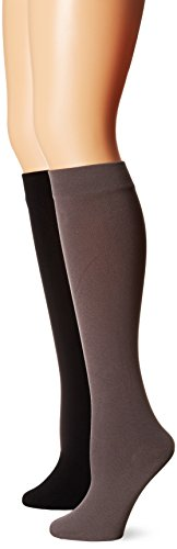 Muk Luks Women's Fleece Lined 2-Pair Pack Knee High Socks, Black/Dark Grey, Large/X-Large