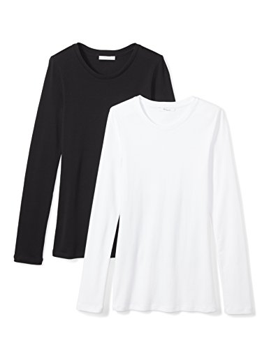 Amazon Brand - Daily Ritual Women's Midweight 100% Supima Cotton Rib Knit Long-Sleeve Crew Neck T-Shirt, 2-Pack, Black/White, Small (Ladies Long Sleeve Crew Neck T Shirts)