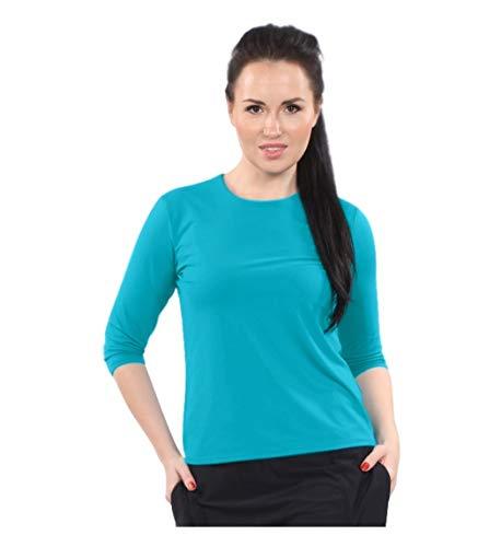 Kosher Casual Women's Modest Swim & Running/Exercise 3/4 Sleeve Shirt Medium Scuba Blue