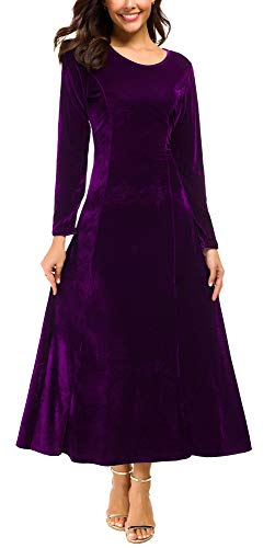 Urban CoCo Women's Elegant Long Sleeve Ruched Velvet Stretchy Long Dress (2XL, Purple) -