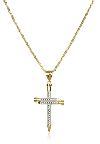 10K Two-tone Gold Large Nail Cross Pendant with a 3mm 24'' Rope Chain Necklace (GO-1767 + GO-1245) by JOTW