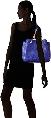 Love Moschino Borsa Embossed Pu Blu - Henkeltasche Donna, Blau (Blue), 28x42x17 cm (L x H D)
