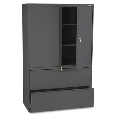 s 42-Inch Storage Cabinet with 2-Drawer Lateral File, Charcoal (Hon 800 Series Five Drawer)