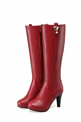 Carolbar Womens Zipper Rhinestone Star Shaped Decorations Chic High Heel Dress Boots Wine Red STfSd