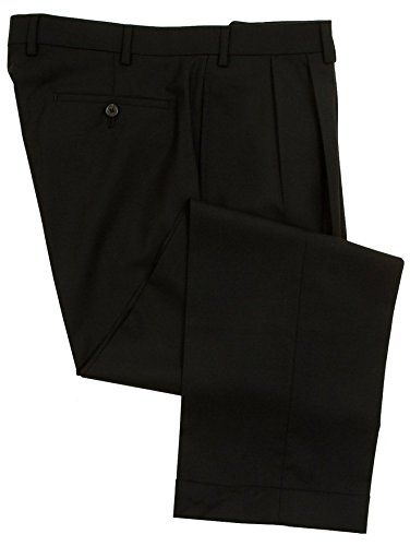 RALPH LAUREN Mens Double Pleated Black Wool Dress Pants - Size 36 x 32 -