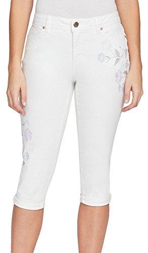 Brilliant Blossoms (Bandolino Women's Lisbeth Curvy Skinny Skimmer with Roll Cuff, White Brilliant Blossom Embroidery, 10)