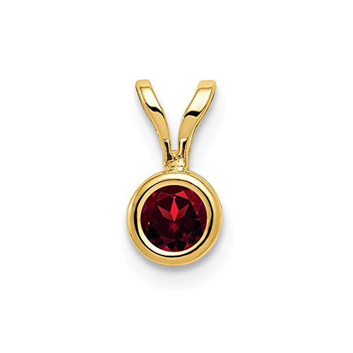 ICE CARATS 14kt Yellow Gold 4mm Red Garnet Bezel Pendant Charm Necklace Gemstone Fine Jewelry Ideal Gifts For Women Gift Set From Heart (Yellow Garnet Jewelry Set)