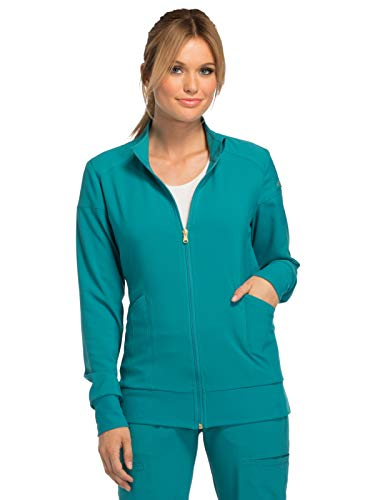 Cherokee iFlex CK303 Zip Front Warm-Up Jacket Teal Blue M