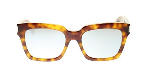 YVES SAINT LAURENT Rectangular Sunglasses SL Bold 1 012 Havana/Silver Mirror Lens - Sunglasses Saint Bold Laurent 1