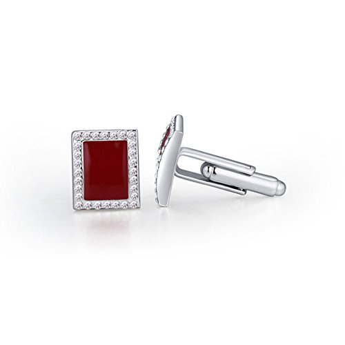 square Crystal Pair Cufflink 1 pair 3 colours 18K platinum plating (red) (Pair Cufflinks Square)