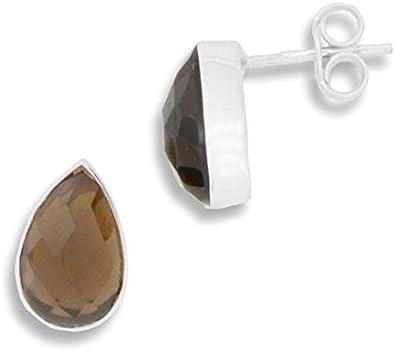 ERCE cuarzo ahumado piedra semipreciosa pendientes gota, plata de ley 925