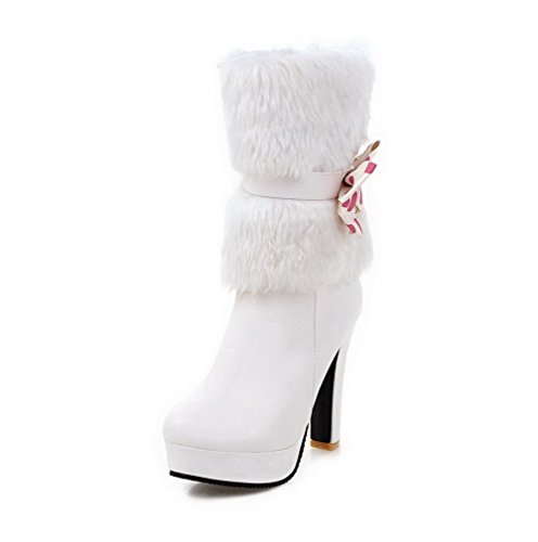 Heels WeiPoot Round White Solid Charms Soft with Boots Zipper Toe Women's Closed Material High qwIrECI