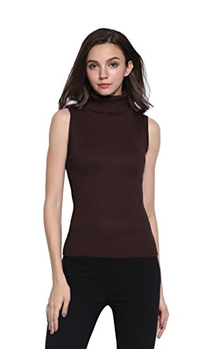 Sofishie Sleeveless Ribbed Turtle Neck Sweater Tunic - Brown - Small