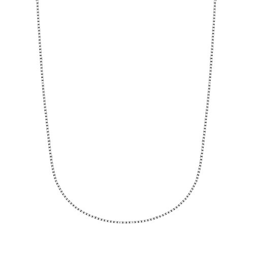 Ritastephens 14K White Gold Box 0.60 Mm Chain Necklace with Lobster Lock