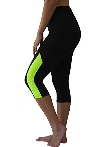 W SPORT Women's Moisture Wick Skinny Athletic Yoga Capri Leggings, Lime Green, Large ()