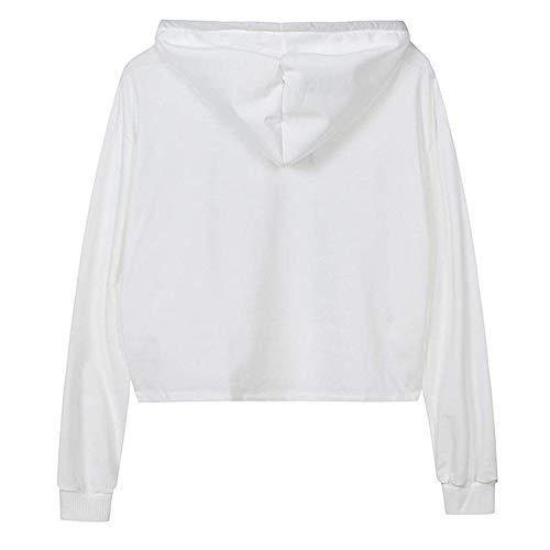 Courte Imprim Mode Blouse Manches Capuche AIMEE7 Tee Longues Femme Blanc Sweat Shirt Chic qBxOZXwt