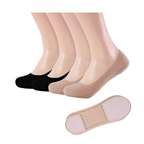 Women's No Show Liners, Memory Sponge Foam Low Cut Socks, Non-slip, Black/Nude, Shoe Size 7-10, 4pp