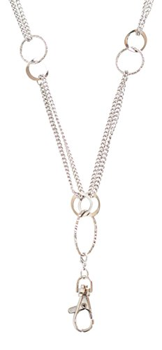Elizabeth Oblong Link Double Chain Lanyard Necklace (Silver)