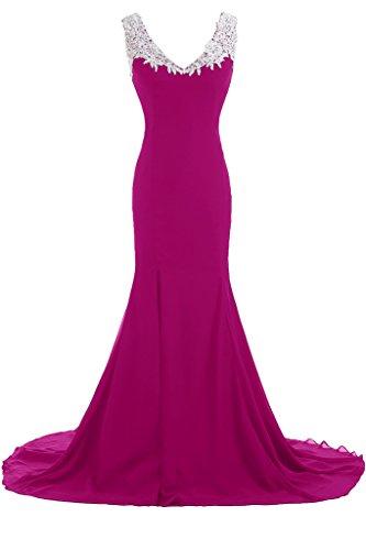 abiti Gowns Vestito formale a profondo donna fucsia lungo rosa sera V Chic da scollo Sunvary da zBaXwX