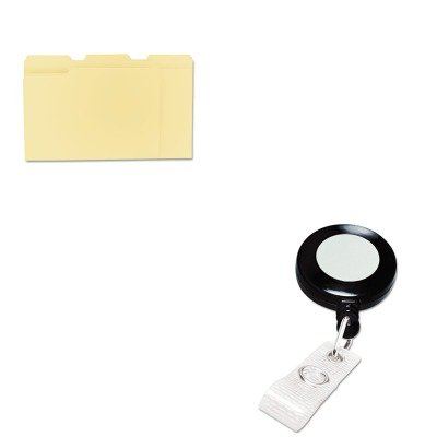KITGBC3748022UNV12113 - Value Kit - GBC Retractable Name Badge Reel w/Clip (GBC3748022) and Universal File Folders (UNV12113) (Gbc Retractable Name Badge)