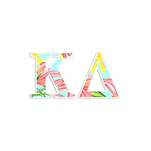 Kappa Delta sorority sticker - 4 inch wide decal - Tropical print coral mint pink - Pretty decor