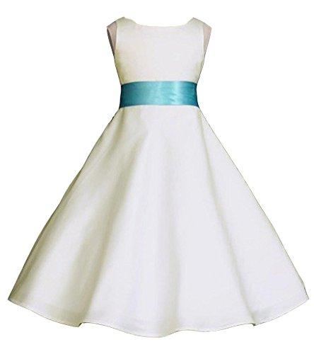 Wedding Pageant Ivory A-Line Matte Satin Jr. Bridesmaid Flower Girl Dress
