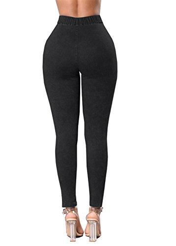 Vita Pantaloncini Tenxin Da Skinny Sexy Donna Strappati Denim A Alta Nero Jeans In Strappati AtTqwdT