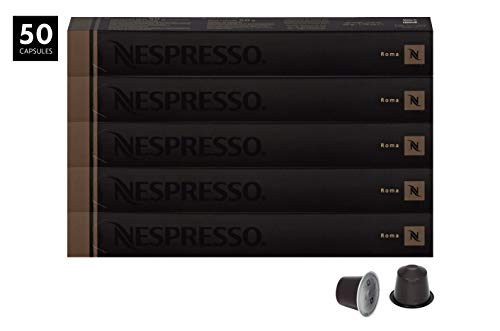 Nespresso Roma Capsules for OriginalLine by Nespresso, 50 Count Espresso Pods, Light Roast Intensity 8 Blend | Central & South American Arabica with Robusta Coffee Flavors