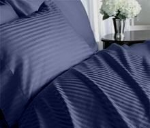 Homespell Egyptian Cotton Bed Sheet Set 500 Thread Count Sateen Stripe  (Navy Blue) Queen