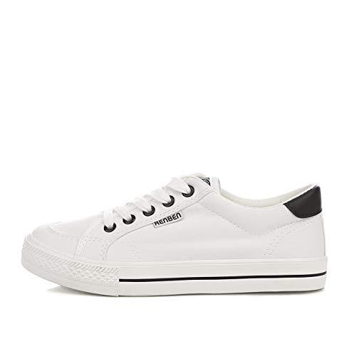 on Sneakers White Sneaker Top Womens Shoes Low Flat Canvas Renben Fashion Slip q14pBxw