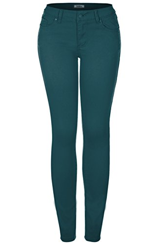 2LUV Women's Stretchy 5 Pocket Colored Skinny Jeans Dark Teal 1