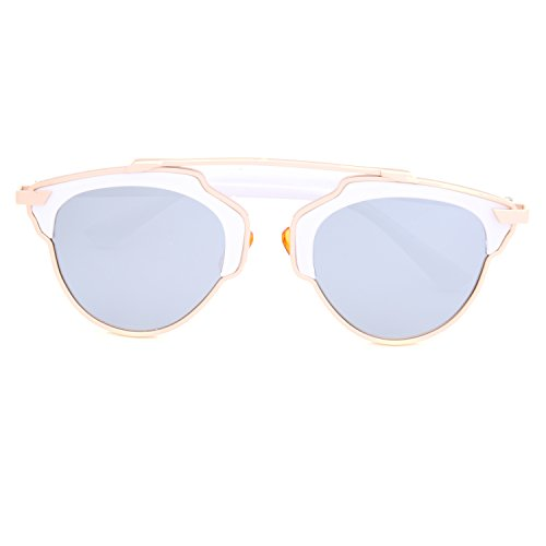 GAMT New Designer Cateye Polarized Sunglasses For Women Classic Style White Frame Silver - Circle Cartier Glasses