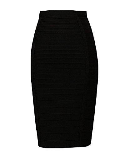 Whoinshop Women's Stretchy Slim Fit Midi Pencil Skirt with Zipper Black (High Waisted Black Pencil Skirt)