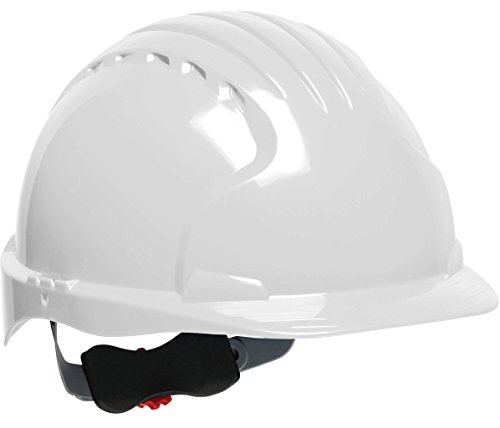 White Hard Wheel (JSP 280-EV6151V-10 Evolution Deluxe Standard Brim Vented Hard Hat, 6 Point Polyester Suspension with Wheel Ratchet Adjustment, White)