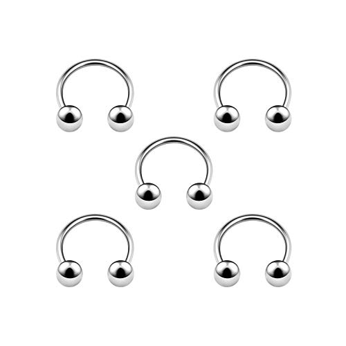 5PCS Stainless Steel Circular Barbell 20g 1/4 6mm 3mm Ball Septum Nose Lip Tragus Earrings Eyebrow Piercing Jewelry 4927 ()