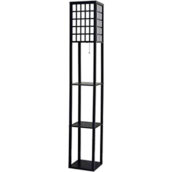 Better Homes and Gardens Grid Shelf Floor Lamp Black Amazoncom