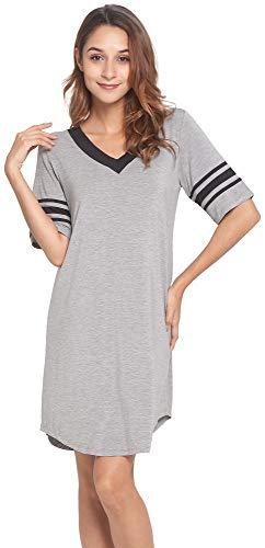 LazyCozy Women's Bamboo V Neck Short Sleeves Nightshirt, Heather Grey, ()
