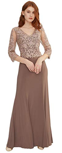 Meier Women's Quarter Length Sleeves Lace Sheath Evening Formal Dress (Mauve, 6)